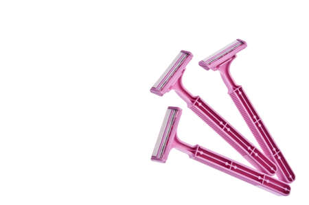 Pink Safety Razors Border Isolated on White with a Clipping Path.