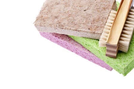 Cleaning Border Image with Sponges, and a Scrub Brush.  Isolated on White Stock Photo - 7211325