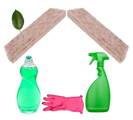 environmentally: Clean Home Concept with Green Environmentally Friendly Cleaning Supplies Isolated on White. Stock Photo