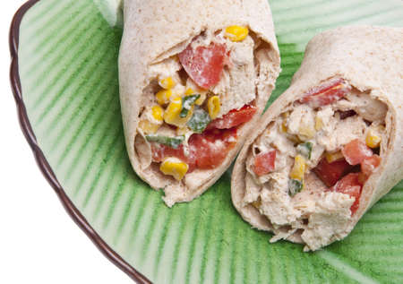 Close Up of Southwestern Chicken Salad Wrap on a Green Plate. Stock Photo - 7237245