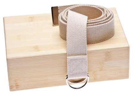 Yoga Practice Equipment : Bamboo Block and Strap Isolated on White. Reklamní fotografie - 7237242