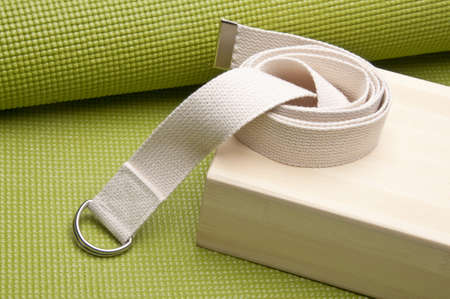 Yoga Practice Equipment : Mat, Strap and Bamboo Block. Stock Photo - 7237251