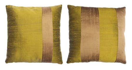 Pair of Silk Striped Decorator Pillows Banco de Imagens