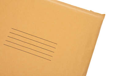 old envelope: Real Business Envelope with Lines for Shipping Address Close Up Border Image Isolated  Stock Photo