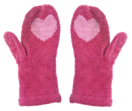 mittens: Pair of Warm Mittens with Hearts for Winter.  Stock Photo