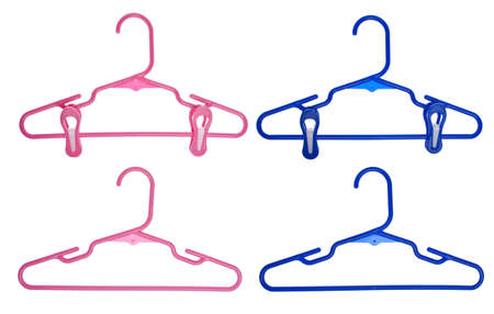hangers: Set of Childrens Clothing Hangers Isolated  Stock Photo