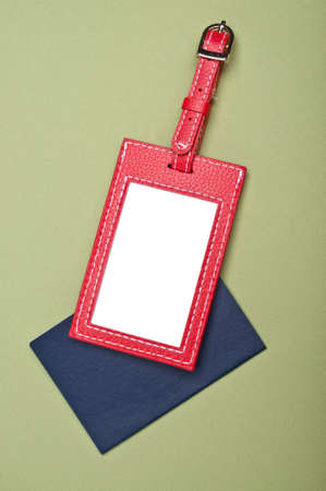 Vibrant Luggage Tag with Generic Passport on a Green Background.  Holiday Travel Concept.