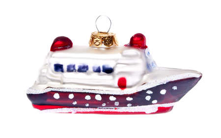 Cruise Ship Holiday Ornament Isolated on White. Holiday Travel Concept.