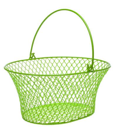 Empty Green Metal Basket Isolated on White. Reklamní fotografie