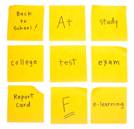 School Themed Handwritten Sticky Notes with the Following HandwrittenMessages : Back to School, A+, Study, College, Test, Exam, Report Card, F, and E-learning. photo