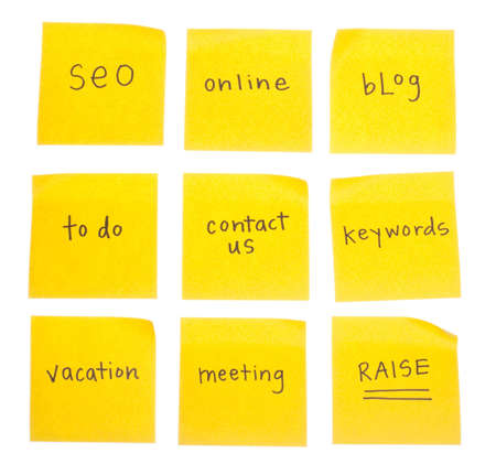 keywords: Business Themed Sticky Notes with the Following Handwritten Messages : SEO, Online, Blog, To Do, Contact Us, Keywords, Vacation, Meeting, and Raise.