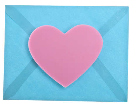Heart with Vibrant Blue Envelope Love Letter Concept. photo
