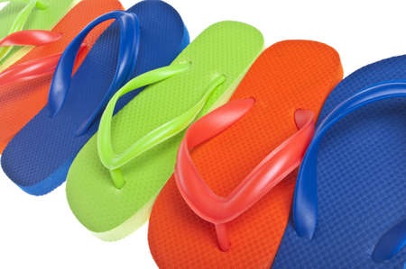 Vibrant Summer Flip Flop Sandal Background Close Up photo