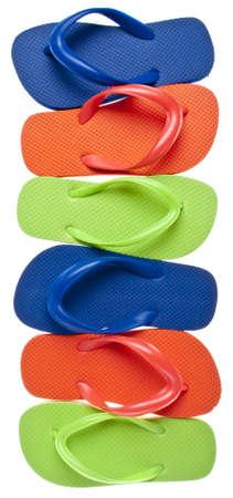Vibrant Summer Flip Flop Sandal Background Isolated on White  photo