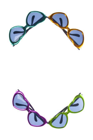 Heart Shaped Summer Sunglasses Background or Border Image with Copy Space Isolated on White Stock Photo - 7433319