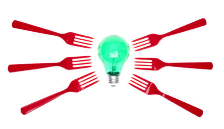 formative: Green Light Bulb with Red Forks for Concepts Having to do with Food