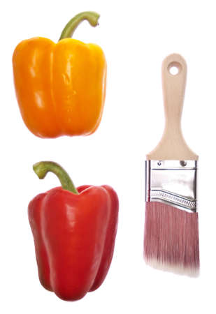 originative: Creative Cooking Concept with Fresh Bell Peppers and a Paint Brush  Stock Photo
