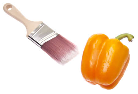 originative: Creative Cooking Concept with Fresh Bell Peppers and a Paint Brush