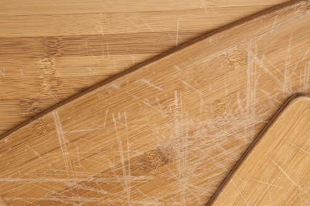 scratches: Kitchen Background Image Featuring Wooden Cutting Boards with Scratches. Stock Photo