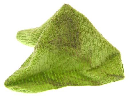 microfibra: Dirty microfibra limpieza tela aislada en blanco.  Foto de archivo