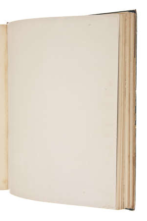 Open Vintage Book with Blank Page Isolated on White with Copy Space. photo