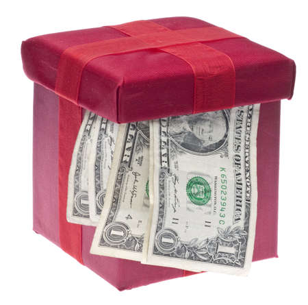 christmas budget: Money and Gift Giving Concept, Gift Budget.  Festive Red Box with American Currency.