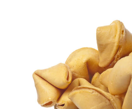 Traditional Fortune Cookies Border Image Isolated on White  photo