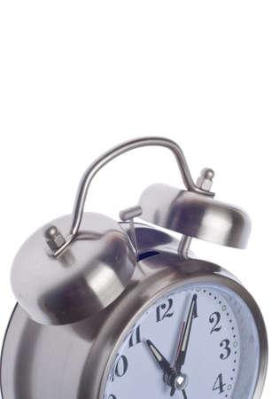 Retro Alarm Clock Close Up Isolated on White
