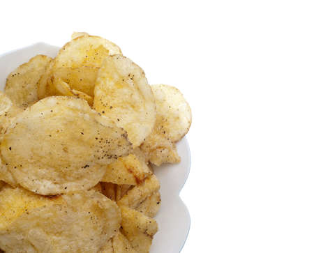 Salt and Pepper Potato Chips Border Isolated on White. Stock Photo - 7649154