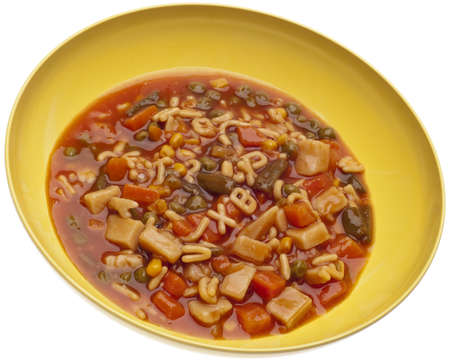 Vegetable Soup with a Variety of Vegetables and Alphabet Noodles. photo