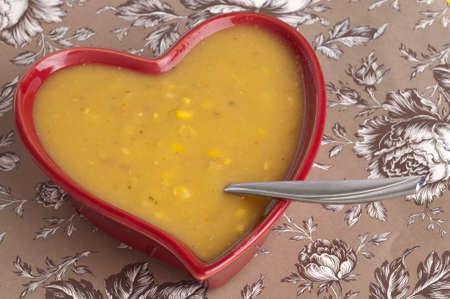 chowder: Fresh Hot Corn Chowder Food Concept Image.