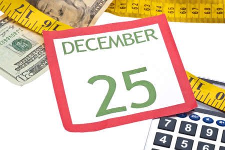 holiday budget: Holiday Budget is Tight Concept with Christmas Calendar Page, Money, Calculator and Measuring Tape.