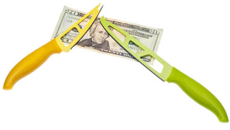 cutting costs: Cutting Costs Concept with Knife and Currency
