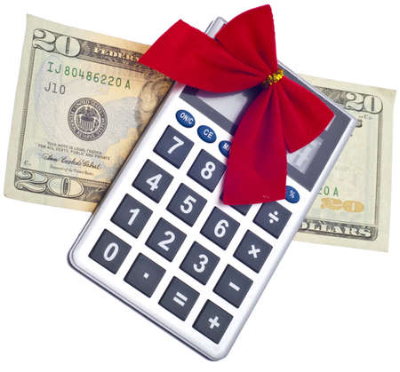 holiday budget: Calculator with Holiday Bow and Currency Christmas Budget Concept. Stock Photo