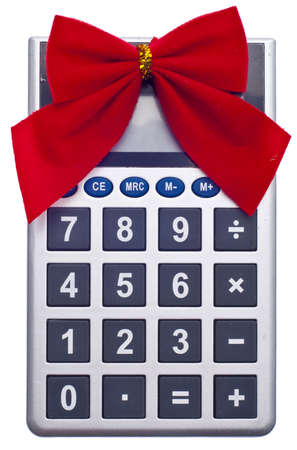 holiday budget: Calculator with Holiday Bow Christmas Budget Concept. Stock Photo