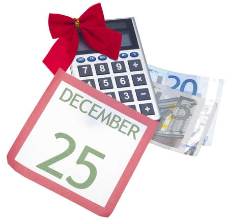christmas budget: Holiday Season Budget Concept Image with Euro Currency Isolated on White.