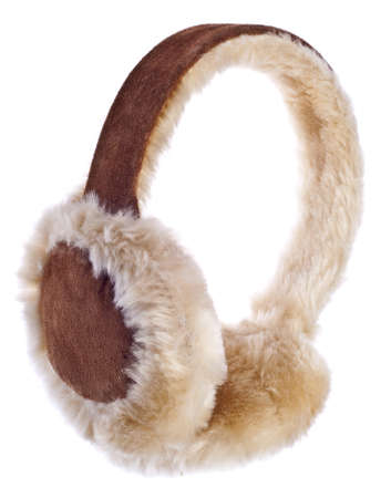Fuzzy Winter Ear-Muffs Isolated on White. Stock Photo