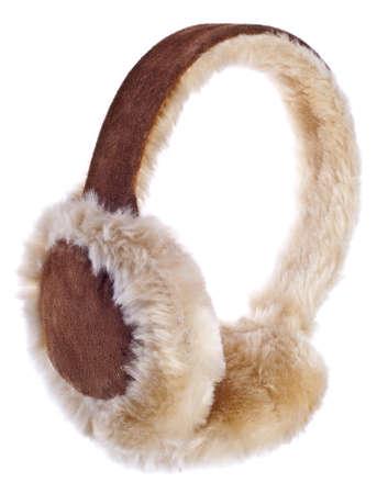 Fuzzy Winter Ear-Muffs Isolated on White. Standard-Bild