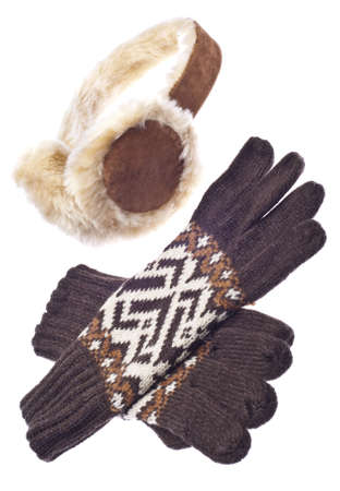 Brown Gloves with Fuzzy Winter Ear-Muffs Isolated on White  photo