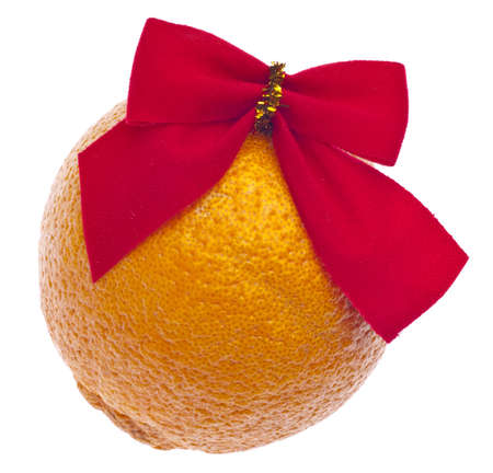 stuffer: Holiday Orange with a Red Gift Bow, a Traditional Stocking Gift for Christmas