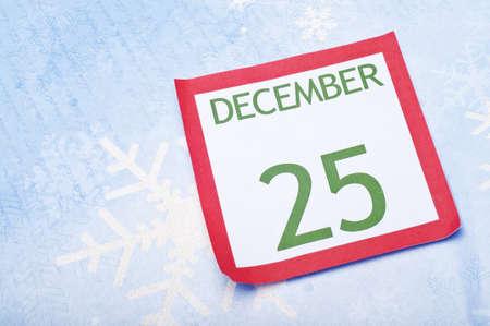 christmas budget: Christmas Calendar Page on Snowflake Background Holiday Concept.