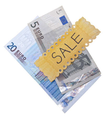 Sale Concept with Euro Currency and Yellow Sale Sign.