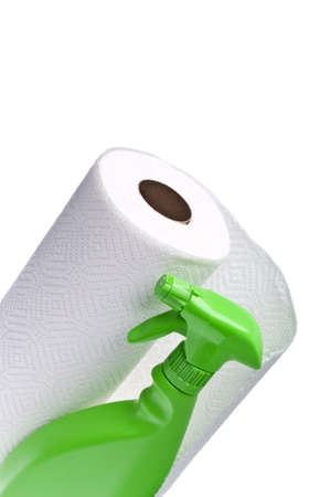 Cleaning with Paper Towels Concept Image with Paper towels and Spray Bottle in a Border Layout. Standard-Bild