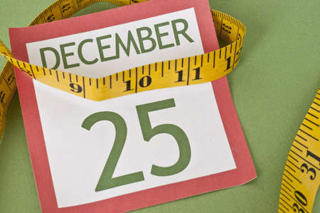 christmas budget: Tight budget Holiday Concept with Measuring Tape on a Calendar Page for Christmas.