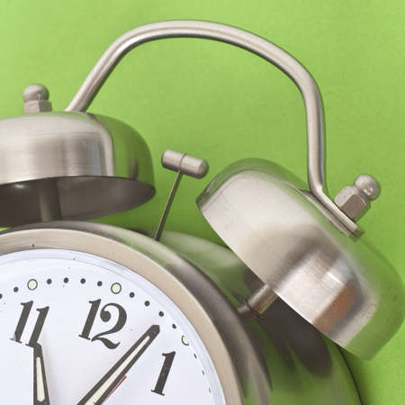 mundane: Close Up of Alarm Clock on a Vibrant Background.  Everyday Object Close Up.