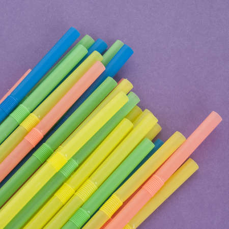 Fun Drinking Straws on a Vibrant.Background Stock Photo - 8135234