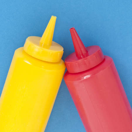 mundane: Favorite Condiments Ketchup and Mustard on Vibrant Blue.