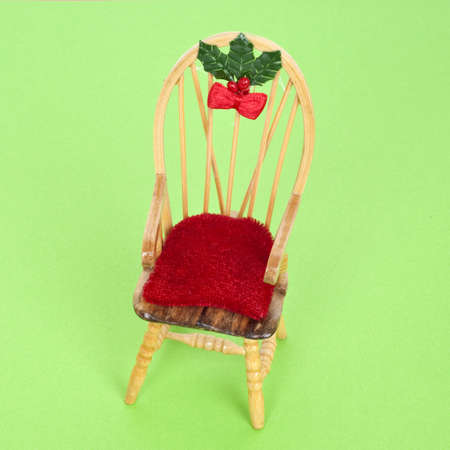 mundane: Holiday Chair Figurine Home for the Holidays Concept.