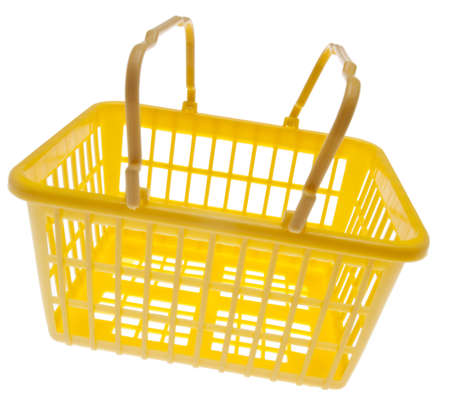 grocery basket: Yellow Grocery Basket Isolated on White
