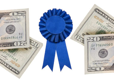 Money and Blue First Prize Ribbon Isolated on White